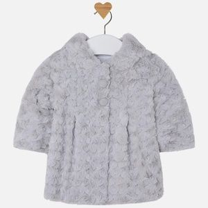 Mayoral Baby Girl Grey Rosette Coat NWT S 6-9month